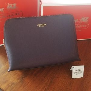 Coach NEW Black Violet Saffiano Cosmetic Case